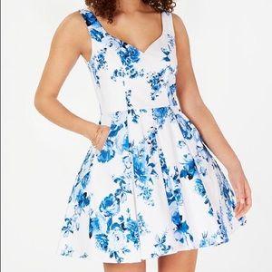 Macy's Trixxi Blue & White Fit & Flare Dress